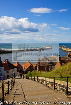 harbour abbey steps whitby north yorkshire harbor uk coastline coastal environmental sea resort piers england english angleterre inghilterra inglaterra great britain united kingdom british grande-bretagne grande bretagne grandebretagne großbritannien gran bretagna bretaña