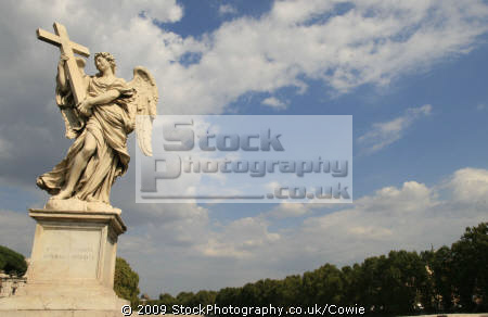 statue bridge river tiber. rome lazio italian european travel rivers stonework roma roman italy italien italia italie europe united kingdom british
