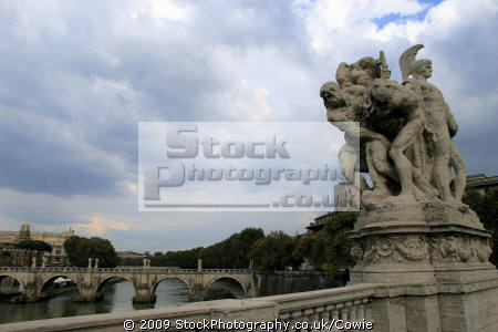 statue bridge river tiber rome lazio italian european travel riverside bridges art roma roman italy italien italia italie europe united kingdom british