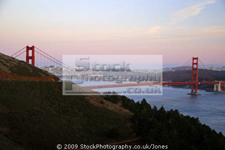 golden gate bridge marin headlands late evening. san francisco california american yankee travel county penisula bay area twilight evening sunset californian usa united states america