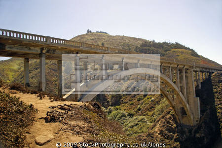 rocky creek bridge california big sur. monterey american yankee travel pacific coast highway sur cabrillo pch californian usa united states america