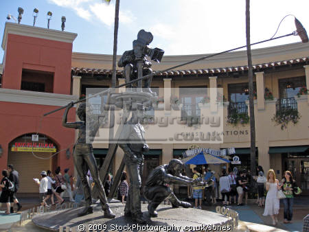 movie sculpture inside entrance universal studios. los angeles la california american yankee travel hollywood tinseltown cinematography production movies film californian usa united states america