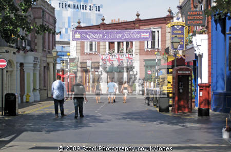 british street scene c. 1977 universal studios hollywood. los angeles la california american yankee travel tinseltown cinematography production movies film set californian usa united states america