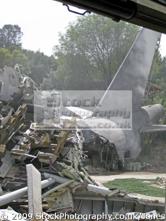 universal studios size mockup crashed 747 hollywood disaster movie war worlds. los angeles la california american yankee travel jet airliner passenger boeing film set tinseltown cinematography production movies jumbo californian usa united states america
