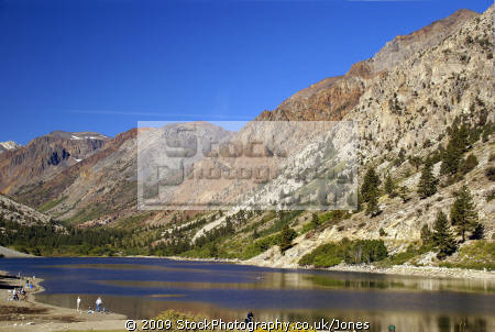 lundy lake sierra nevadas. wilderness natural history nature misc. california mountains angling fishing alpine pristine fishermen californian usa united states america american