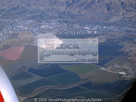 salt evaporation ponds south san francisco bay california american yankee travel sfo take-off take off takeoff flight aircraft flying air photosynthesis algae saline fremont californian usa united states america