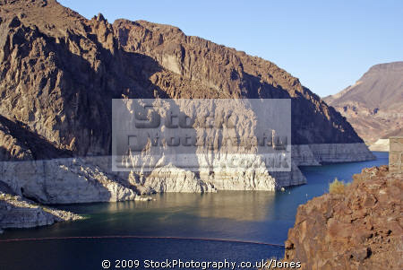 lake meade near hoover dam showing low water levels arizona american yankee travel las vegas reservoir electricity generating generation hydro-electric hydro electric hydroelectric usa united states america