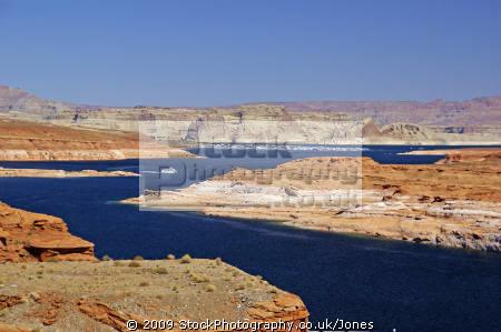 lake powell glen canyon dam near page arizona. arizona american yankee travel hydro-electric hydro electric hydroelectric generating electricity renewable colorado river highway 89 usa united states america