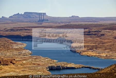 lake powell navajo power station taken glen canyon dam near page arizona. arizona american yankee travel generating electricity colorado river highway 89 usa united states america