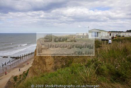 section cliff collapsed cromer norfolk uk coastline coastal environmental danger erosion land slide caravans england english angleterre inghilterra inglaterra united kingdom british