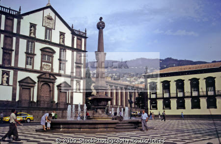 funchal madeira town centre portuguese portugese european travel portugal architecture traditional square statue fountain madiera europe
