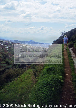 madeira view levada dos piornais looking south-east south east southeast funchal portuguese portugese european travel irrigation terrace terracing vines horizontal level water portugal island madiera europe