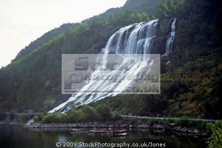 furebergfossen waterfall norway hardangerfjorden. waterfalls cascade cataracts geology geological science misc. norwegian norge bergen fjord kongeriket europe european norwegan