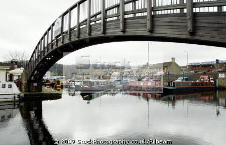 canal boats bridge apsley basin huddersfield uk rivers waterways countryside rural environmental british boating canals leisure united kingdom