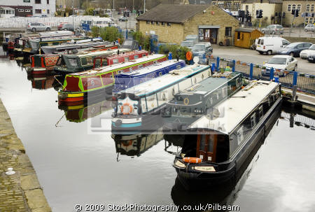 canal boats moored apsley basin huddersfield uk rivers waterways countryside rural environmental british boating canals leisure united kingdom
