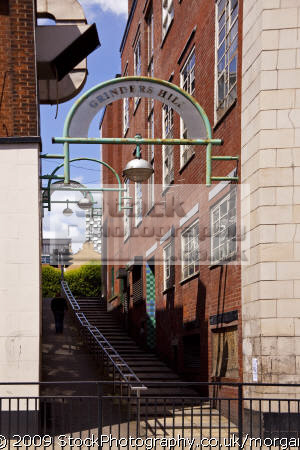 walkway grinders hill sheffield south yorkshire uk monuments british architecture architectural buildings tribute industry local grinding steps heritage united kingdom