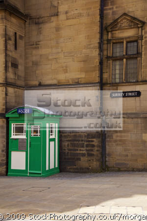 police communications box town hall sheffield south yorkshire cops uk emergency services wooden old fashioned united kingdom british