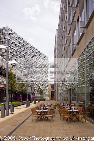 tables chairs outside city centre restaurant sheffield south yorkshire food brands branding uk business commerce set meal eating united kingdom british