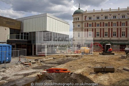 redevelopment tudor square sheffield south yorkshire building construction uk business commerce arts work crucible lyceum theatres united kingdom british