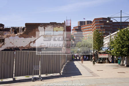 moor precinct redevelopment sheffield south yorkshire uk high streets towns environmental demolition shops shoppers city england english angleterre inghilterra inglaterra united kingdom british