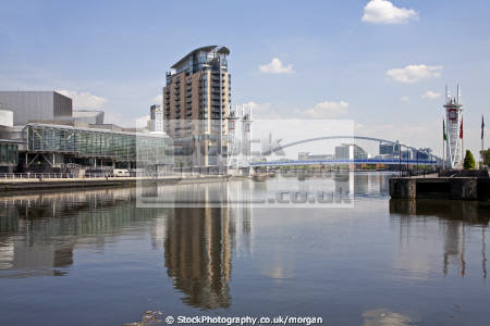 redeveloped salford quays manchester uk art galleries british architecture architectural buildings water redevelopment bridge lowry gallery england english angleterre inghilterra inglaterra united kingdom