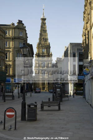 town hall street furniture halifax yorkshire uk halls government buildings british architecture architectural seats lampost bins urban clutter england english angleterre inghilterra inglaterra united kingdom