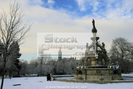 glasgow university stewart memorial fountain uk parks gardens environmental victorian arichitecture winter central scotland scottish scotch scots escocia schottland united kingdom british