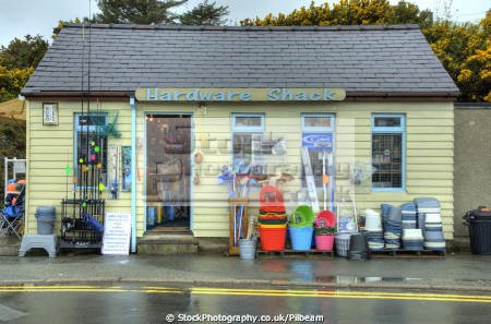 hardware shack abersoch north wales uk shops commercial buildings retailers british architecture architectural surfing small shop things outside ironmonger gwynedd welsh país gales united kingdom