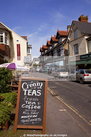 porlock high street somerset uk streets towns environmental cream teas notice shops village england english angleterre inghilterra inglaterra united kingdom british