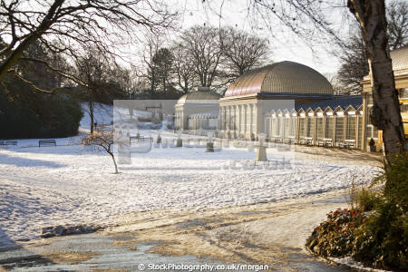 botanical gardens greenhouses sheffield south yorkshire uk parks environmental horticulture winter snow park england english angleterre inghilterra inglaterra united kingdom british
