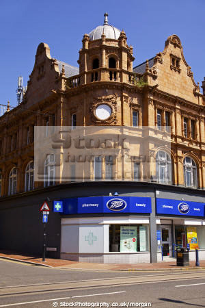 boots chemist branch west street sheffield south yorkshire retailers brands branding uk business commerce retail pharmaceutical shop old architecture england english angleterre inghilterra inglaterra united kingdom british