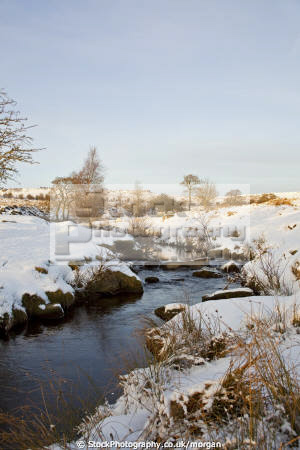 burbage brook winter grindleford derbyshire countryside rural environmental snow stream peak district england english angleterre inghilterra inglaterra united kingdom british