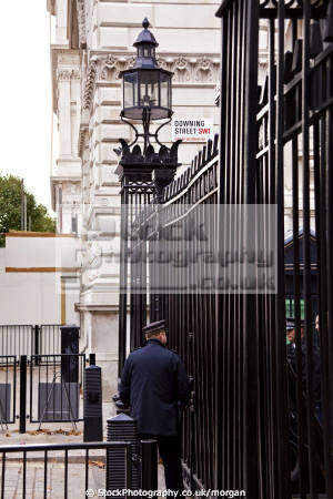 guarded entrance downing street london uk government buildings british architecture architectural gates guard prime minister police westminster cockney england english angleterre inghilterra inglaterra united kingdom