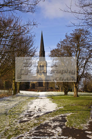 holy trinity parish church south yorkshire uk churches worship religion christian british architecture architectural buildings village gothic victorian winter snow 1877 england english angleterre inghilterra inglaterra united kingdom