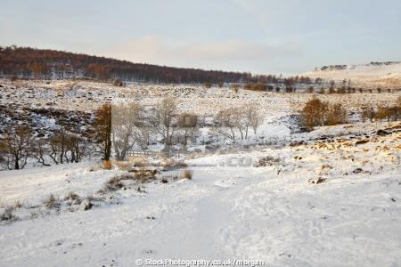 burbage brook winter grindleford deryshire countryside rural environmental landscape snow scene trees bridge peak district derbyshire england english angleterre inghilterra inglaterra united kingdom british