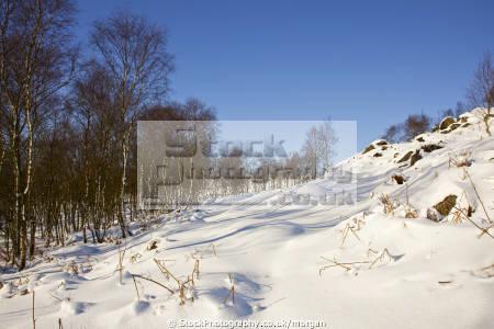 winter landscape hathersage derbyshire countryside rural environmental snow trees rocks peak district england english angleterre inghilterra inglaterra united kingdom british