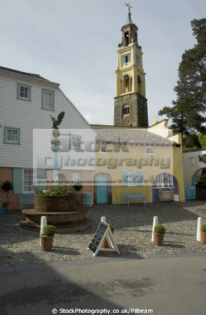 tower buildings portmeirion village north wales historical uk history british architecture architectural clough williams-ellis williams ellis williamsellis gwynedd welsh país gales united kingdom