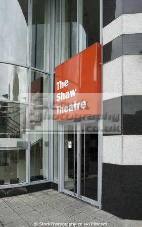 entrance shaw theatre euston road london uk theatres theater theatrical venues british architecture architectural buildings plays north stage productions live performances camden cockney england english angleterre inghilterra inglaterra united kingdom