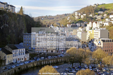 town tull france correze river french landscapes european corrèze valley medieval mediaeval townscape urban shops offices commerce commercial limousin la francia frankreich