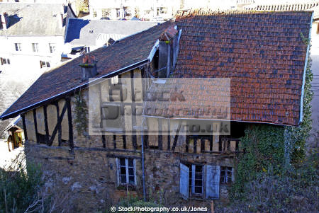 mediaeval building french town tulle. buildings european corrèze correze river valley medieval townscape urban half-timbered half timbered halftimbered limousin france la francia frankreich