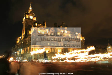 edinburgh new year torch parade balmoral hotel princes street midlothian central scotland scottish scotch scots escocia schottland united kingdom british