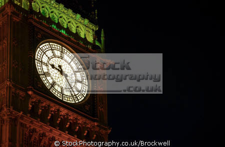night time shot showing close clock face big ben london houses parliament famous sights capital england english building landmark architecture cities lights westminster cockney angleterre inghilterra inglaterra united kingdom british