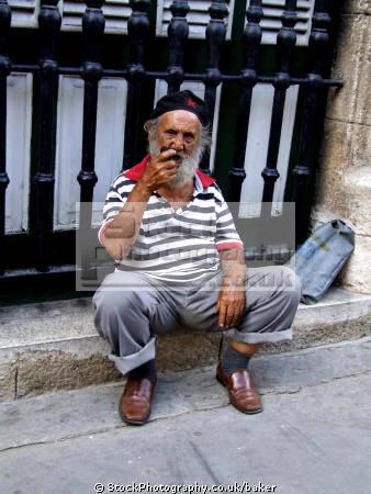 man smoking pipe havana cuba people tobacco anti social drug health addiction nicotine lung cancer emphysema cardiovascular disease smokers human activities old caribbean cuban