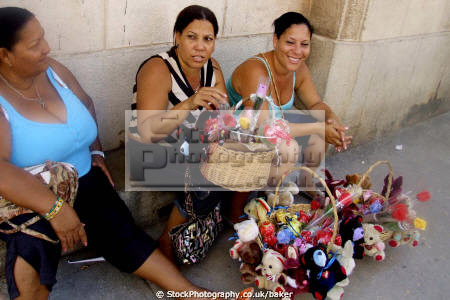 ladies selling flowers havana cuba women woman female females feminine womanlike womanly womanish effeminate ladylike flower sellers lady workers caribbean cuban