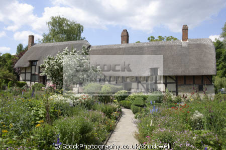 anne hathaway cottage. tudor timber building lived william shakespeare wife shottery just outside stratford famous tourist attraction historical uk buildings history british architecture architectural tourism sight seeing cottage stratford-on-avon stratford on avon stratfordonavon warwickshire england english angleterre inghilterra inglaterra united kingdom