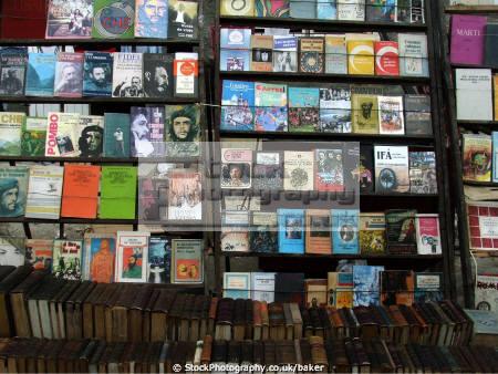 book stall havana cuba shopping retail purchase human activities che guevara fidel castro market communism communist jose marti old books caribbean cuban