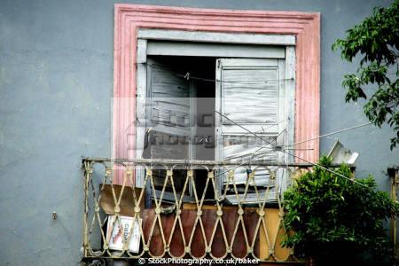 open window havana cuba walls abstracts colonial building tatty worn rotten wood balcony washing line mediterranean paint caribbean cuban