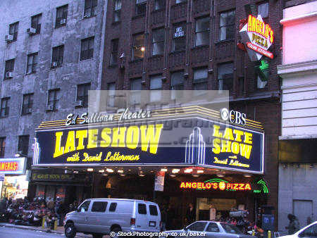 ed sullivan theater late broadway manhattan new york american yankee diner cbs television david letterman big apple united states
