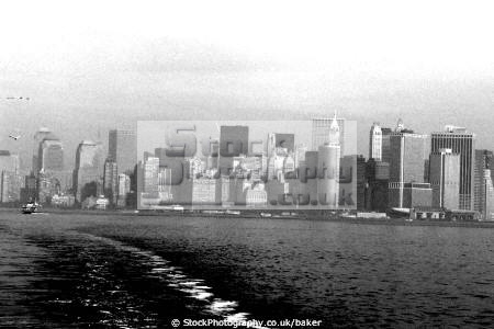 new york skyline staten island ferry american yankee skyscrapers battery park architecture high rise water offices nyc big apple united states