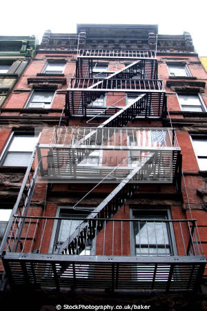 escape tenement buildings apartments american flag lower east manhattan new york yankee usa stars stripes culture big apple united states